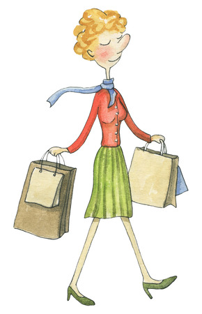 Happy woman goes with packages after shopping isolated on white background. Watercolor hand drawn illustration