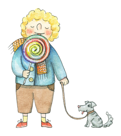The boy lick lollipop and walks with the dog isolated on white background. Watercolor hand drawn illustration Banco de Imagens