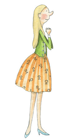 Blonde girl stands and looks delighted isolated on white background. Watercolor hand drawn illustration