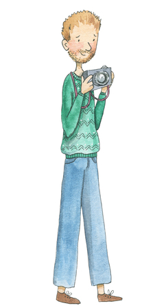 Photographer holds photo camera isolated on white background. Watercolor hand drawn illustration
