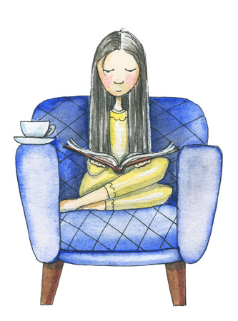 Young woman sits on a couch and reads a book isolated on white background. Watercolor hand drawn illustration