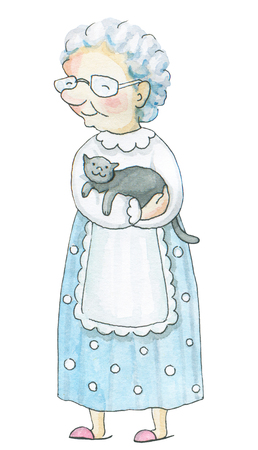 Old woman with cat isolated on white background. Watercolor hand drawn illustration