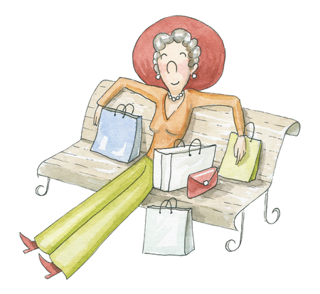 Woman resting on a bench after a good shopping isolated on white background. Watercolor hand drawn illustration