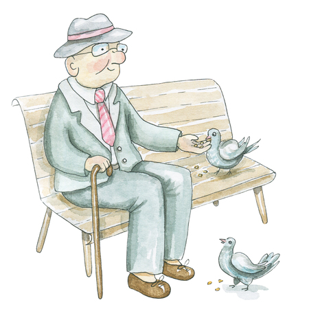An elderly man sits on a bench and feeds pigeons isolated on white background. Watercolor hand drawn illustration Banco de Imagens