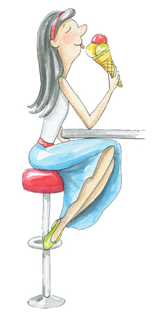 Young woman sits in a cafe and eats ice cream isolated on white background. Watercolor hand drawn illustration Stock Photo