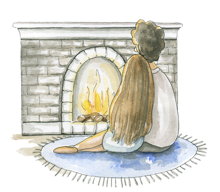 A young couple in love is sitting in front of the fireplace isolated on white background. Watercolor hand drawn illustration
