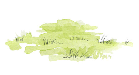 Green lawn isolated on white background. Watercolor hand painted illustration 스톡 콘텐츠