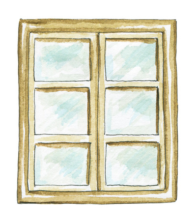 Window frame with square panes isolated on white background. Watercolor hand painted illustration Banque d'images - 112183689