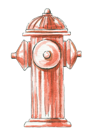 Red fire hydrant isolated on white background. Watercolor hand painted illustration Stockfoto