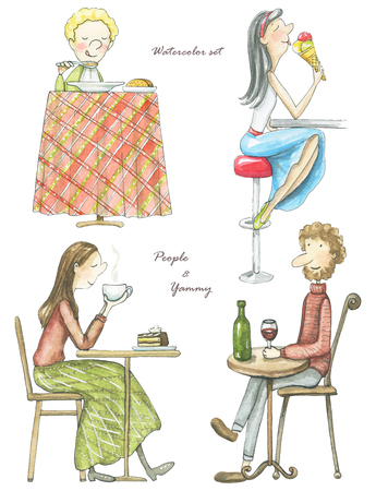 Set of four drinking and eating people isolated on white background. Watercolor hand drawn illustration