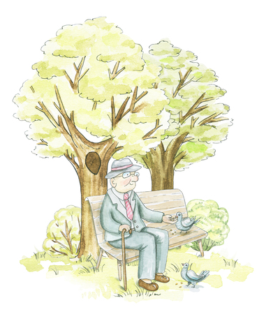 An elderly man sits on a bench and feeds pigeons in the park isolated on white background. Watercolor hand drawn illustration Banque d'images - 115433528