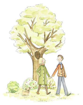 Couple walking in the park isolated on white background. Watercolor hand drawn illustration