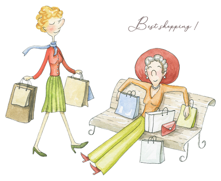 Set of  two woman with packages after shopping isolated on white background. Watercolor hand drawn illustration