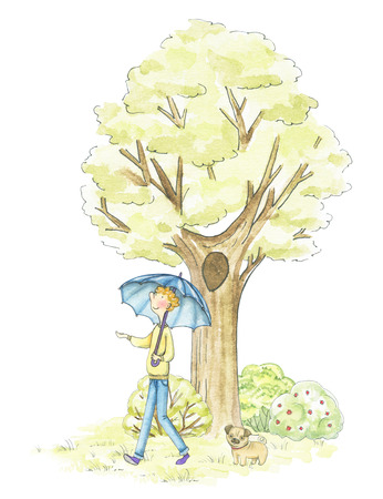 Guy with umbrella walking in the park isolated on white background. Watercolor hand drawn illustration