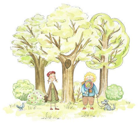 Children and their pets walking in the park isolated on white background. Watercolor hand drawn illustration