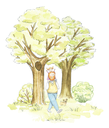 Dad and daughter walking in the park isolated on white background. Watercolor hand drawn illustration