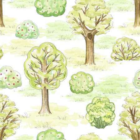 Seamless pattern with trees, bushes and grass in park. Watercolor hand drawn illustration Stock Photo