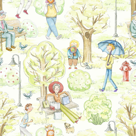 Seamless pattern with cartoon people in park. Watercolor hand drawn illustration Reklamní fotografie