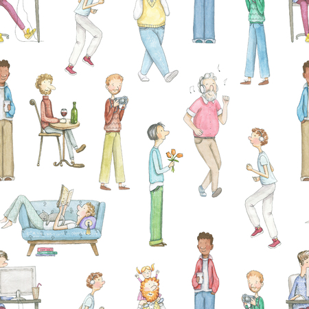Seamless pattern with cartoon men with various occupations isolated on white background. Watercolor hand drawn illustration