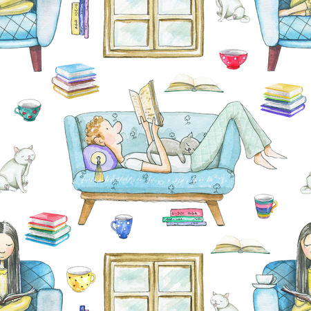 Seamless pattern with cartoon people reading books, cats, mugs and window frame isolated on white background. Watercolor hand drawn illustration Фото со стока