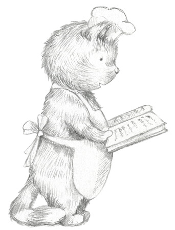 Cartoon cook cat reading a book with recipes isolated on white background. Lead pencil graphic hand drawn illustration Stockfoto - 115433606