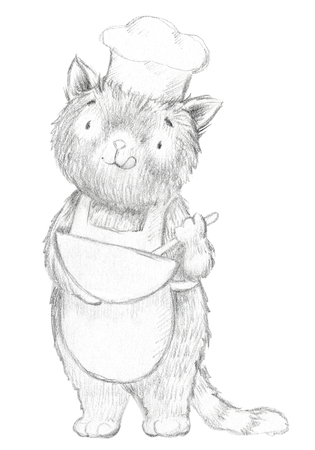 Cartoon cook cat whips food isolated on white background. Lead pencil graphic hand drawn illustration