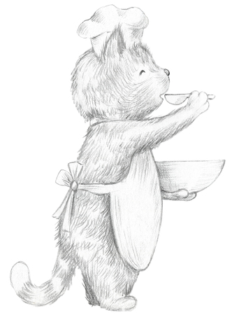 Cartoon cook cat  is tastes food isolated on white background. Lead pencil graphic hand drawn illustration