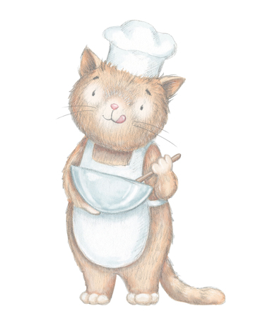 Cartoon cook cat whips food isolated on white background. Lead pencil graphic and digital illustration