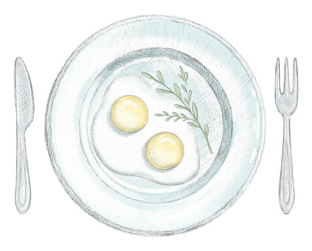 Two scrambled eggs on a plate with fork and knife isolated on white background. Lead pencil graphic and digital illustration