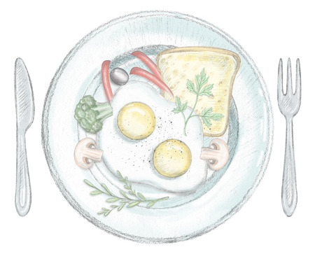 Two scrambled eggs, toast and vegetables on a plate with fork and knife isolated on white background. Lead pencil graphic and digital illustration