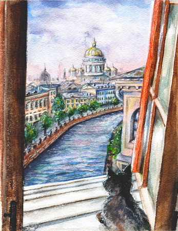Black cat sits on the urban landscape. Watercolor hand drawn illustration