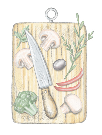 Board for cutting with knife and vegetables isolated on white background. Lead pencil graphic and digital illustration Stok Fotoğraf
