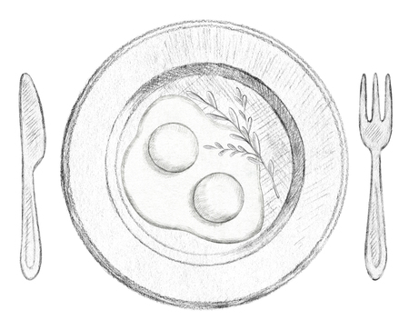 Two scrambled eggs on a plate with fork and knife isolated on white background. Lead pencil graphic hand drawn illustration