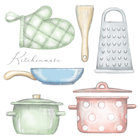 Set with two pots, pan, oven mitt, spatula and grater isolated on white background. Lead pencil graphic and digital illustration Stock Photo