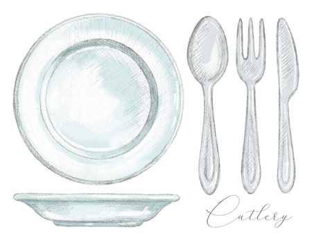Set with spoon, fork, knife and two plates isolated on white background. Lead pencil graphic and digital illustration