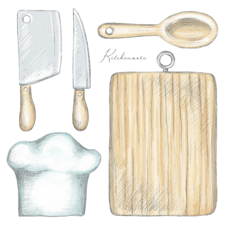 Set with knife, cutting board, chopper, cook hat and wooden spoon isolated on white background. Lead pencil graphic and digital illustration Stock Photo
