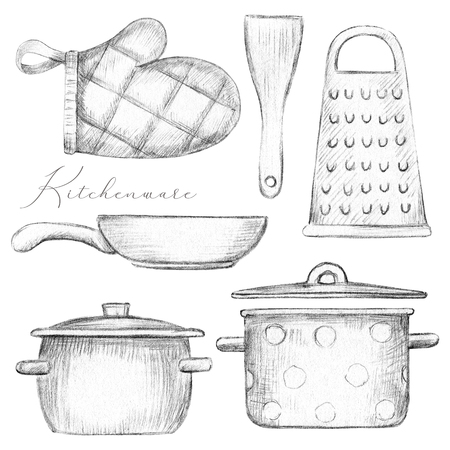 Set with two pots, pan, oven mitt, spatula and grater isolated on white background. Lead pencil graphic illustration Stock Photo