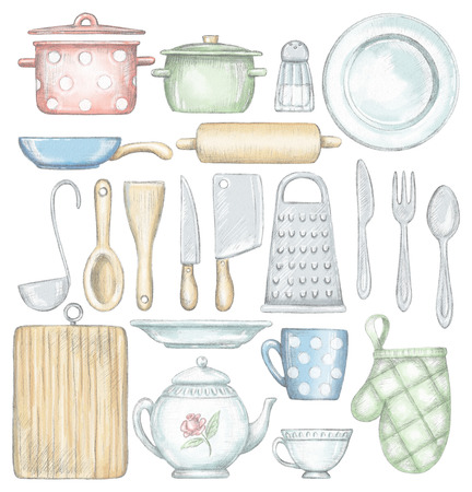 Big set with various kitchenware and tableware isolated on white background. Lead pencil graphic and digital illustration