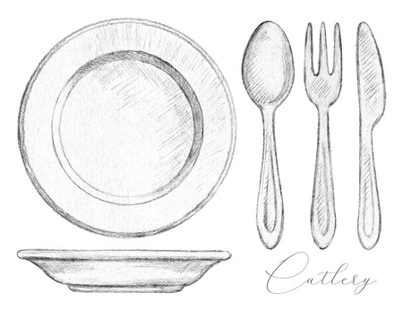 Set with spoon, fork, knife and two plates isolated on white background. Lead pencil graphic illustration Banco de Imagens