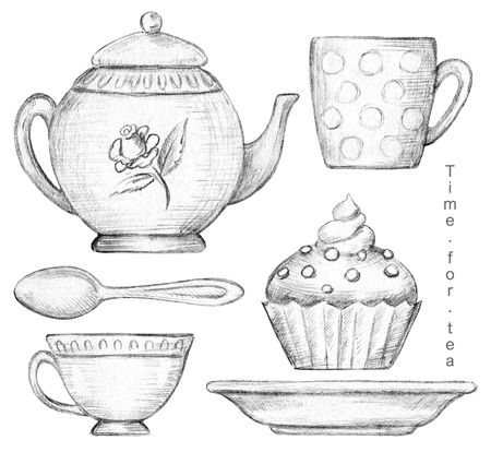 Set with mug, cup, teaspoon, teapot, plate and cupcake isolated on white background. Lead pencil graphic illustration