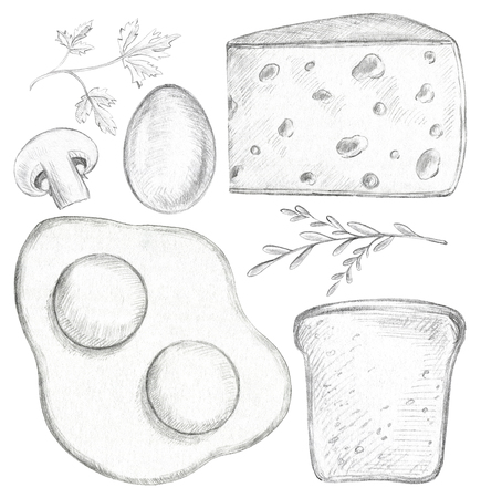 Set with eggs, cheese, toast, mushroom and greenery isolated on white background. Lead pencil graphic illustration