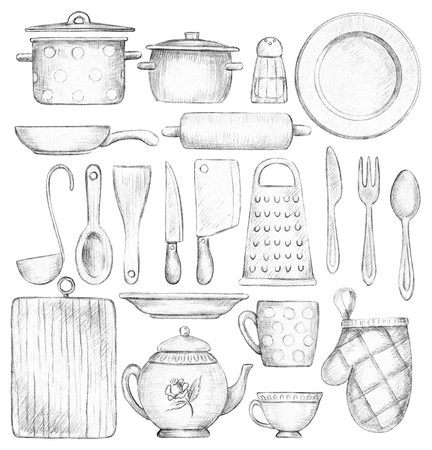 Big set with various kitchenware and tableware isolated on white background. Lead pencil graphic and illustration