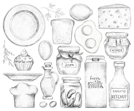 Big set with various grocery products isolated on white background. Lead pencil graphic and illustration