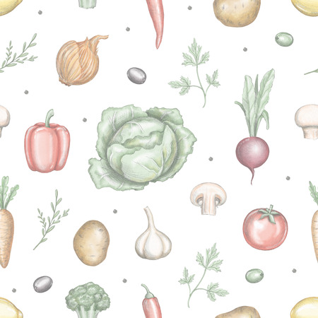 Seamless pattern with various fresh vegetables isolated on white background. Lead pencil graphic and digital illustration