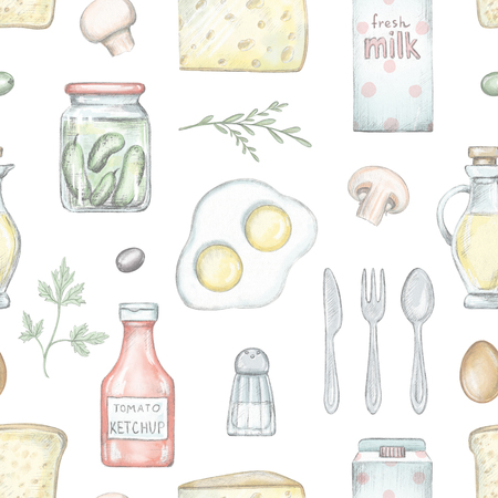 Seamless pattern with various grocery products isolated on white background. Lead pencil graphic and digital illustration