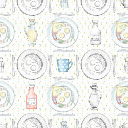 Seamless pattern with various grocery products, crockery and ready meals on the floral tablecloth. Lead pencil graphic and digital illustration Stock Photo