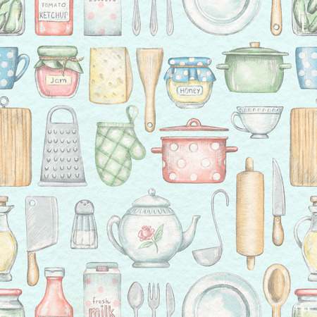 Seamless pattern with various kitchenware, grocery products and tableware isolated on blue background. Lead pencil graphic and digital illustration