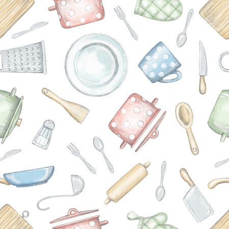 Seamless pattern with various kitchenware and tableware isolated on white background. Lead pencil graphic and digital illustration Stock Photo