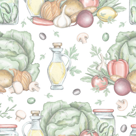 Seamless pattern with vegetable compositions isolated on white background. Lead pencil graphic and digital illustration