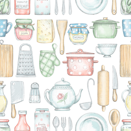 Seamless pattern with various kitchenware, grocery products and tableware isolated on white background. Lead pencil graphic and digital illustration